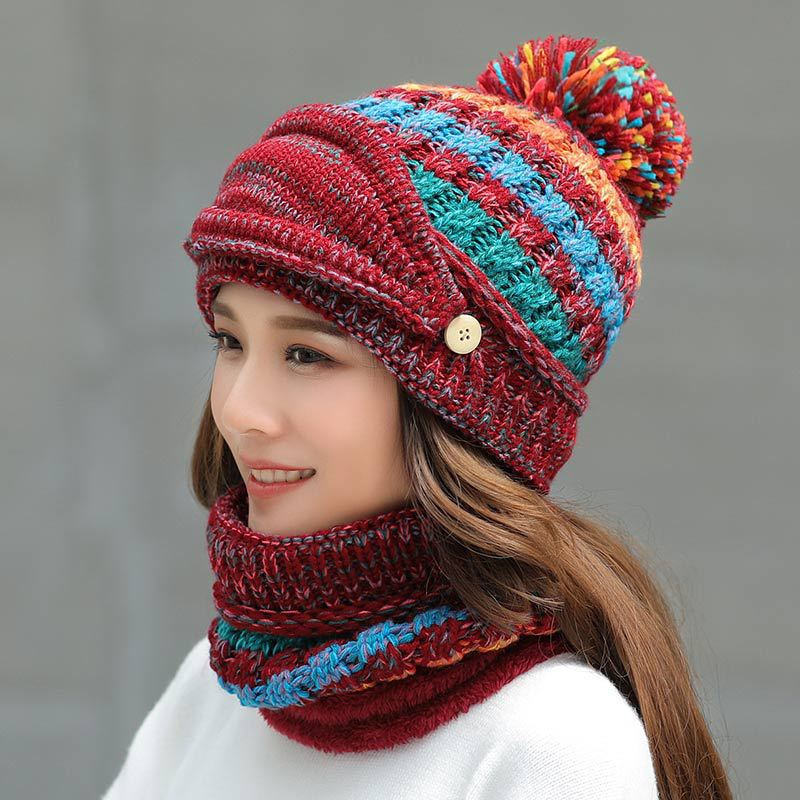 Wool Velvet Padded Cycling Turtleneck Ball Knit Hat Scarf Mask Set  Winter Warm Outdoor Fashion For Women