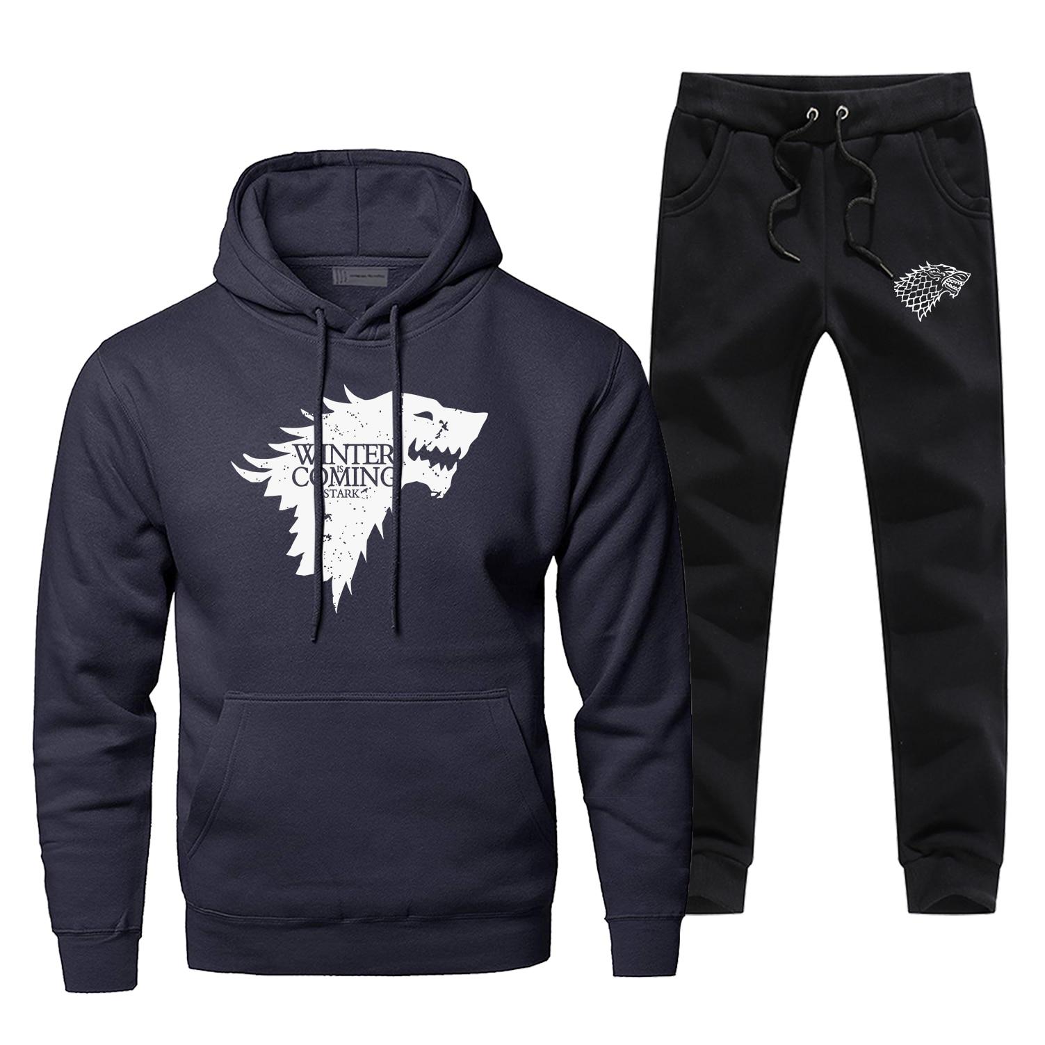 Game Of Thrones House Stark Sweatshirt Hoodies Pants Sets Men Hip Hop Streetwear Winter Is Coming Casual Sportswear Sweatpants
