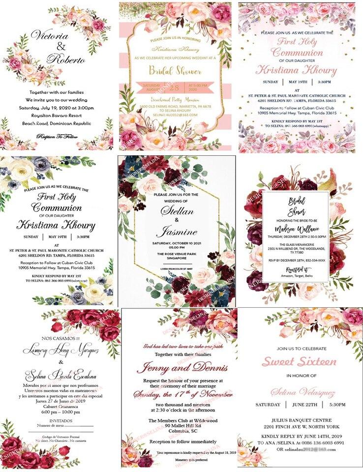 Corte Láser Elegante Borgoña Invitaciones Para Quinceañera Cumpleaños Dulces 16 Tarjetas De Fiesta Rosa Graduación Invitaciones