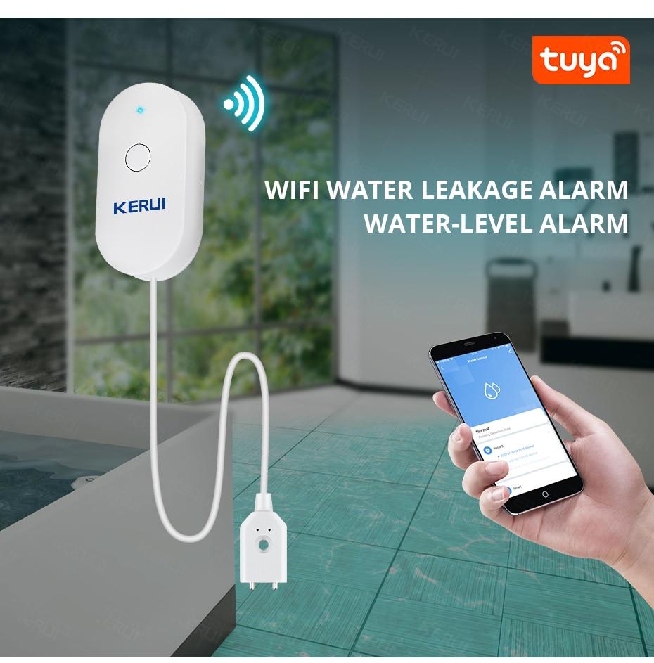 Kerui wifi датчик воды Умный Дом Кухня Детектор утечки tuya