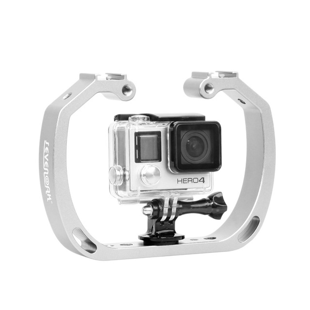Diving Underwater Handheld Action Camera Holder Double Arm Tray Support Stabilizer Holder Cage Selfie Monopod Mount For GoPro