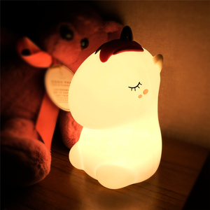 Image 5 - חד קרן LED לילה אור חיישן מגע צבעוני USB נטענת קריקטורה סיליקון שינה המיטה מנורת לילדים ילדים בייבי מתנה