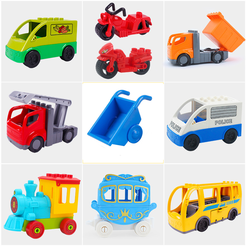 Building Blocks Accessories Bus Fire Truck Big Size Diy Building Blocks Building Blocks Set Duploed Bricks Toy For Children Gift