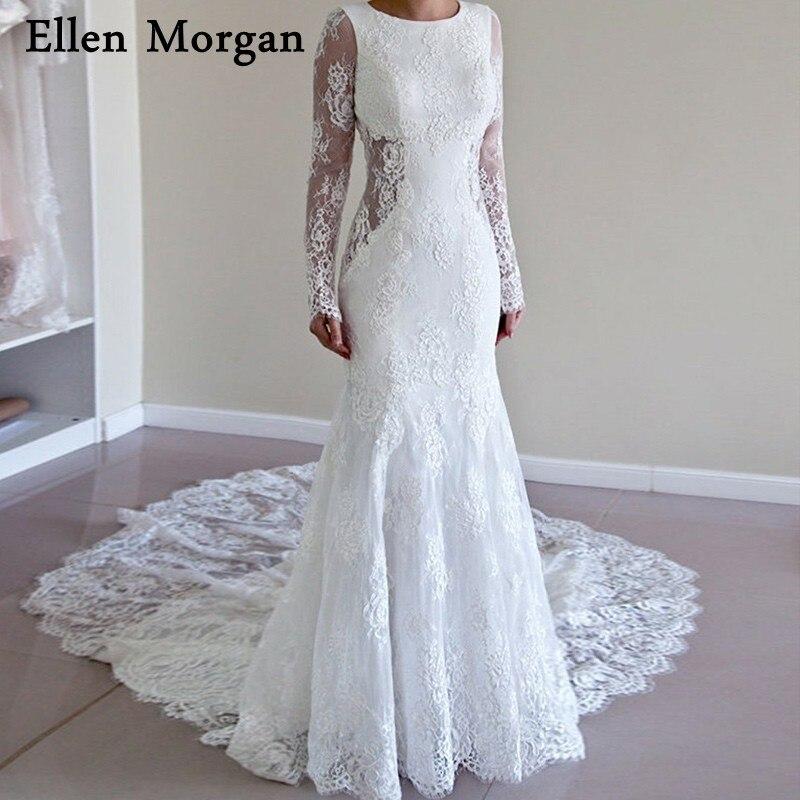 Boho Summer Beach Mermaid Wedding Dresses 2019 Vestido De Noiva Court Train Lace Long Sleeves Backless Bridal Gown