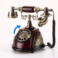 Retro festnetz telefon Vintage Europäischen home office haus hotel drehen antike feste land linie telefon aus harz metall-in Handys aus Handys & Telekommunikation bei