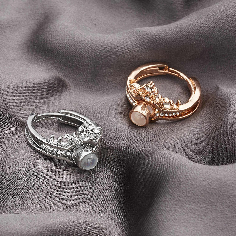 Anillos de pareja creativos 100 idioma te amo anillos de proyección mujeres hombres amor romántico circonita de corona anillos de boda y joyería abierta