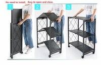 Free installation kitchen folding rack with wheels living room household debris finishing balcony floor storage shelf