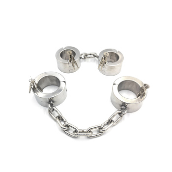 Black Emperor heavy stainless steel handcuffs, latch locks, key opening, 4CM and 6CM height, men and women SM fun punishment