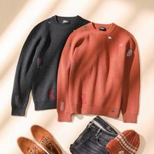 Simwood 겨울 새로운 패션 힙합 패치 워크 니트 남자 구멍 streetwear 수 놓은 풀 오버 2019 크리스마스 스웨터 si110439