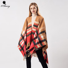 Plaid Tassel poncho feminino inverno Capes Women Scarf Winter Warm Cachemire Luxury Brand Wool Scarves Shawls Wraps Pashmina(China)