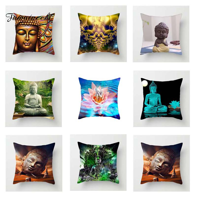 Fuwatacchi Buddha Statue Cushion Cover Colorful   Soft Throw Pillow Cover Decorative Sofa Pillow Case Pillowcase
