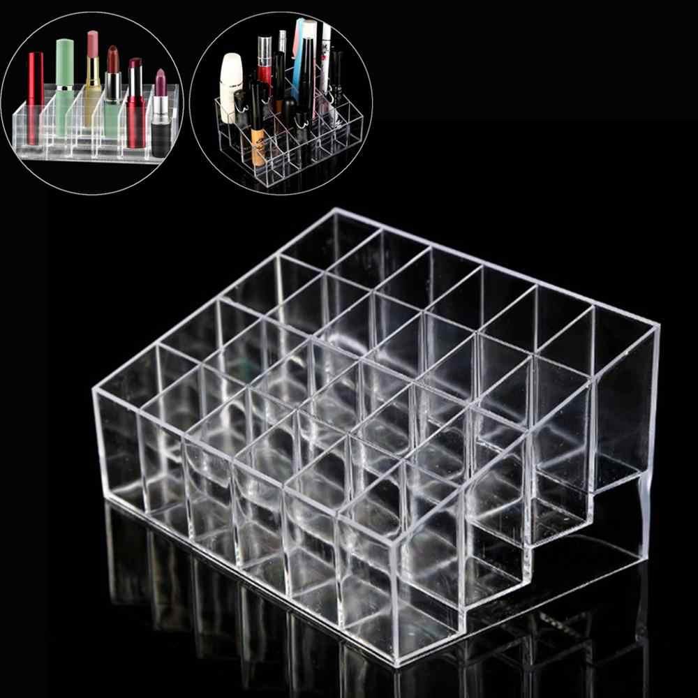 24 Grid Acrylic Make Up Storage Holder Makeup Organizer Storage Box Cosmetic Box Lipstick Jewelry Box Case Holder Display Stand