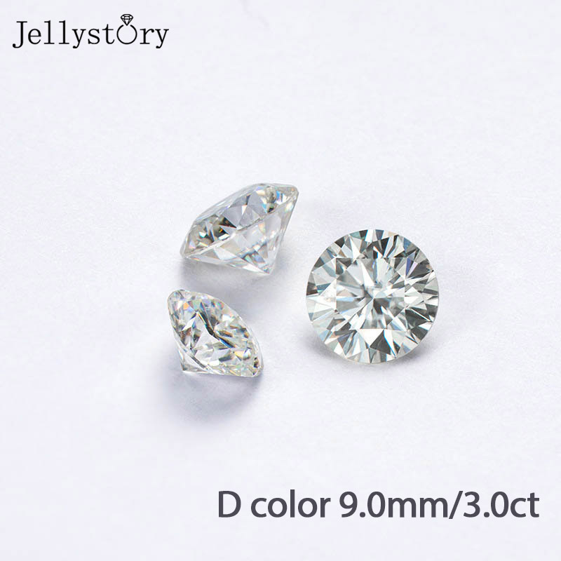 Jerrystory 100% Natural Moissanites Loose Gemstone Excellent Cut 3.0ct D Color 9.0mm VVSI for Jewelry DIY with Test Certificate