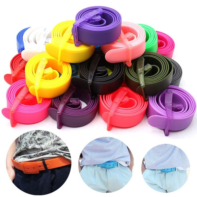 Pink Belt Candy Colors Eco-Friendly Plastic Belt Unisex Silicone Rubber Belt Korean Style Smooth Buckle Women Men Pasek Damski