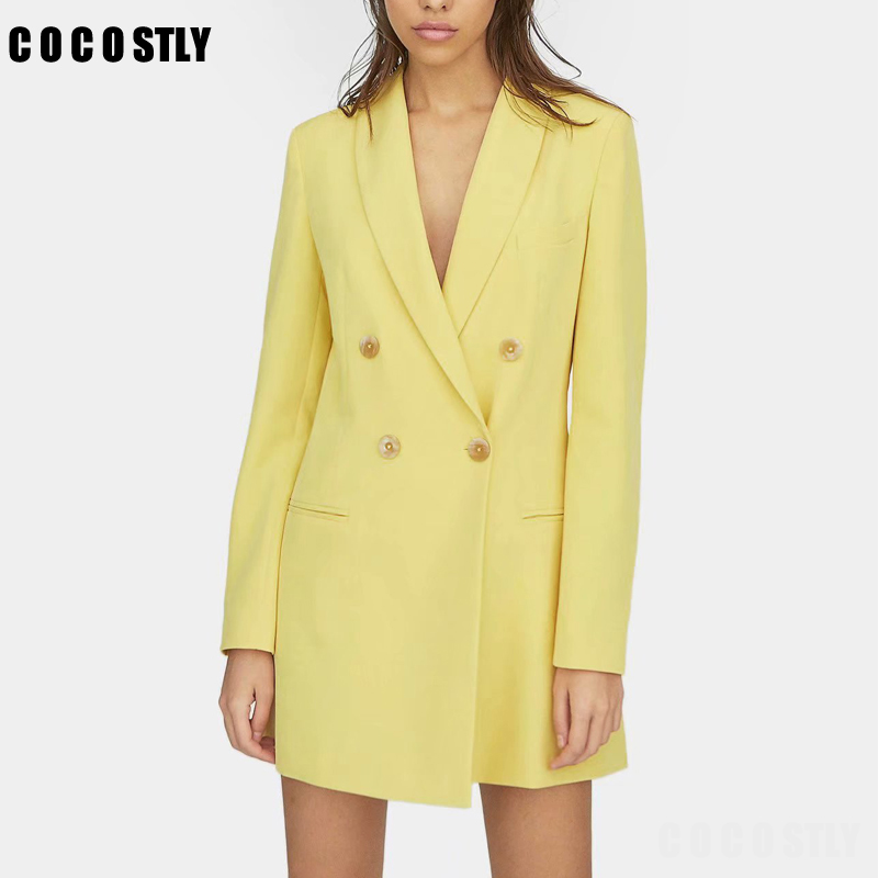 Women Fashion Solid Color Yellow Blazer Long Sleeve Double Preasted Outwear Suit Office Lady Pockets Business Jacket Tops