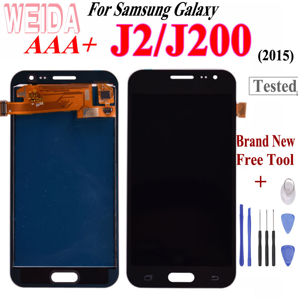 WEIDA For Samsung Galaxy J2 2015 J200 LCD Touch Screen Digitizer Assembly Free Tool For Samsung GALAXY J200F J200M J200H J200Y