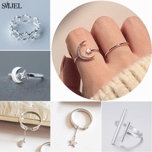 SMJEL Korean Finger Rings for Women Minimalism Zircon Moon Star Open Adjustable Rings for Women Femme Knuckle Ring anillos mujer