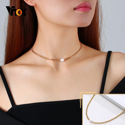 Vnox Elegant Freshwater Pearls Necklaces for Women, Gold Color Stainless Steel Cuban Chain Choker Collar,Street Party Daily Wear