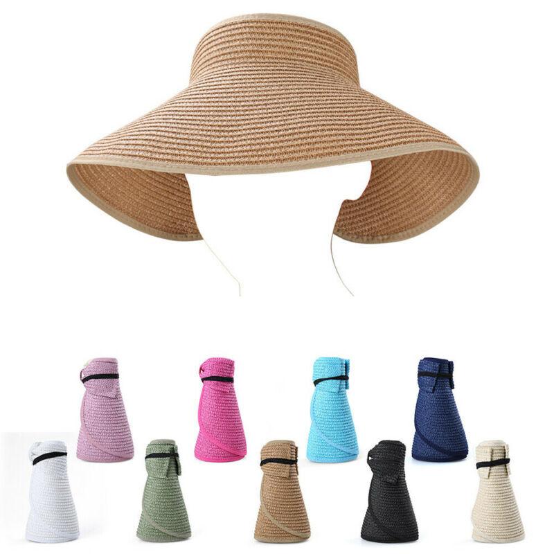 Womens Sun Visor Cap Roll Up Foldable Ladies Summer Beach Straw Wide Brim Hat Beach Caps