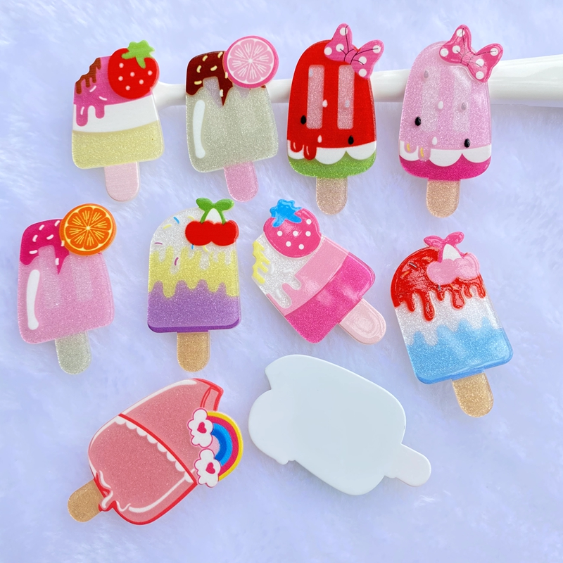12pcs//lot Mixed Resin Popsicle Ice Cream Flatback Cabs Decor DIY Accessories