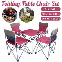 5-Piece-Set Barbecue-Table Folding Outdoor Camping Wine And with Delivery-Bag Red Hiking