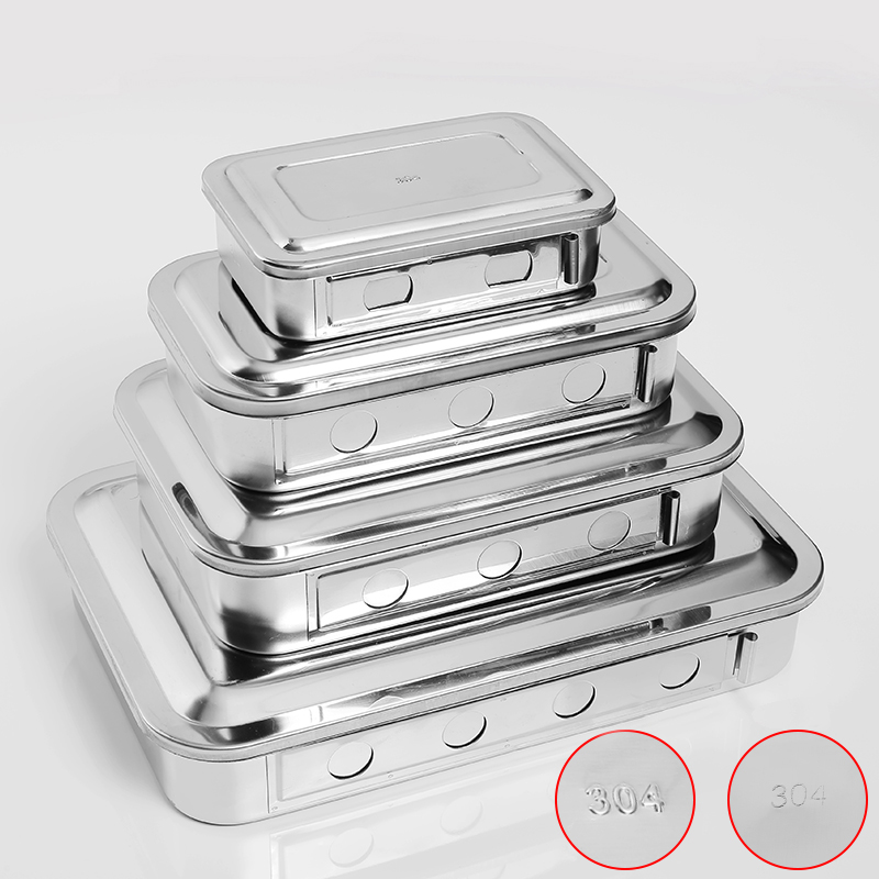 304 Thick Stainless Steel Material Sterilization Tray Box  Square Plate With Hole Cover Equipment Surgical Instruments
