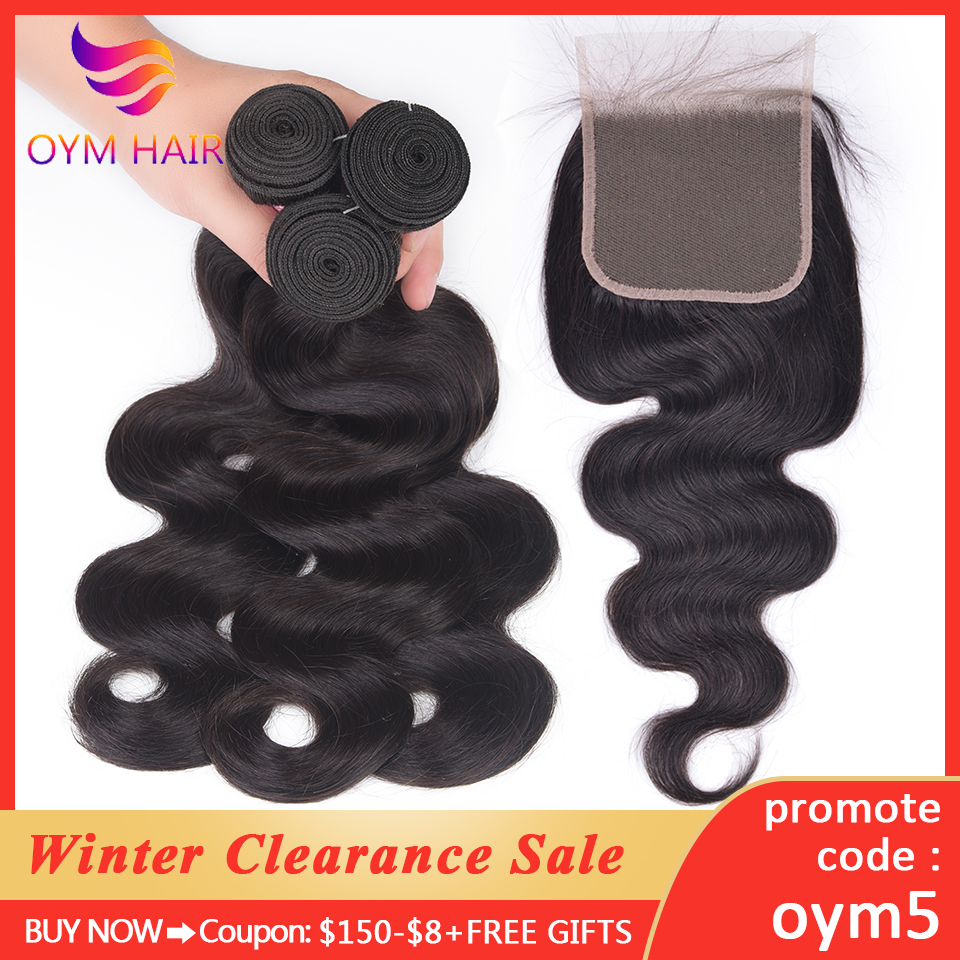 OYM HAIR 3 Bundles Body Wave Bundles With Closure Non-Remy 4Pcs/Lot Brazilian Human Hair Weave Bundles With Lace Closure