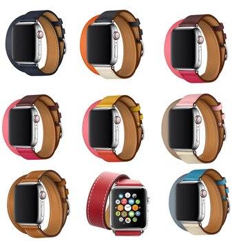 De cuero genuino extra largo doble recorrido pulsera para reloj Apple Watch banda 38 40mm correas de la serie 5 4 3 2 1 para iwatch banda 42mm 44mm