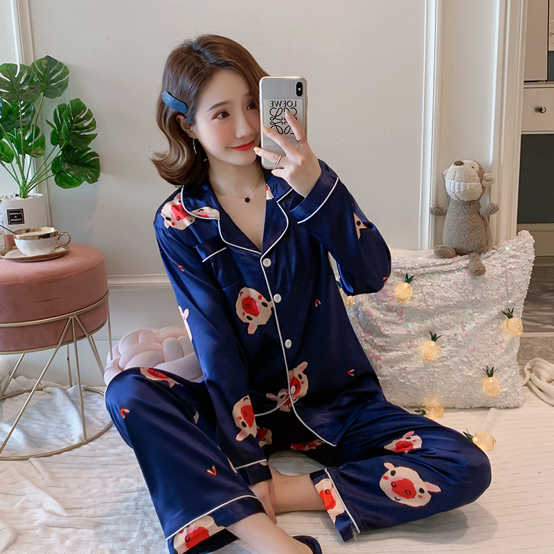 Plus Size 3XL 4XL 5XL 85kg Nightwear Long Sleeve Silk Pajamas Spring Autumn 2020 Women Pajama Sets Print Cute Sleepwear Pyjamas