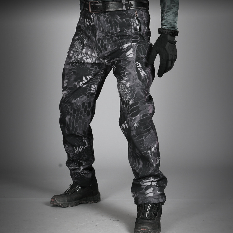Autumn And Winter Tactical Pants Male Shark Skin Soft Cover Charge Pants Bib Overall Men's Soft Pants Waterproof Archons Loose-F