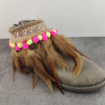 Brown Feather Shoes Belt Mishmash Boho mix f02846ee759da375bf7e2a: STYLE 1