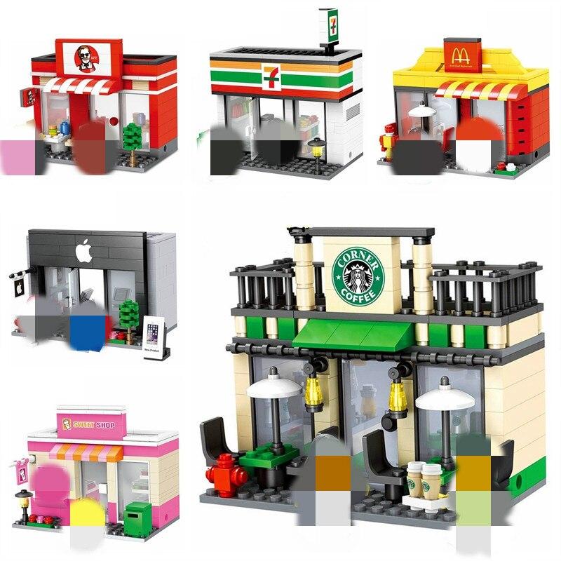 City Mini Street Retail Store Miniature Building Block Cafe McDonald Model Dickens Ville Shop Compatible Leduo Brand Tiendas Toy