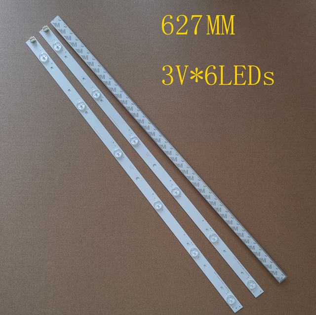 "627mm 3PCS 6LEDs*3V New LED Strip For Toshiba 32"" TV SVT320AF5 32P1300 32P1400VT 32P1400VE 32P1400d 32P2400VT"
