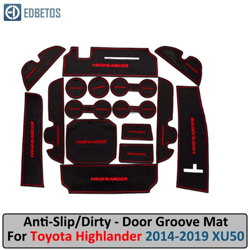 Anti-Dirty Pad For Toyota Highlander 2014 2015 2016 2017 2018 2019 XU50 Kluger Door Groove Gate Slot Coaster Anti-Slip Mat  Car