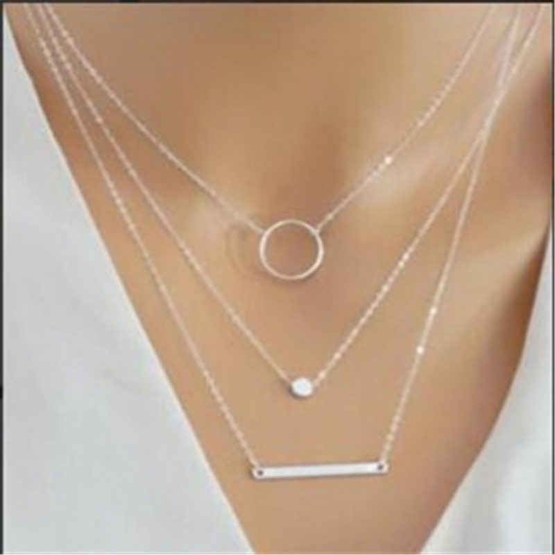 2019 Fashion Necklace for Women Multilayer Stars Pendants choker necklace gold color crystal pendant necklace Gift