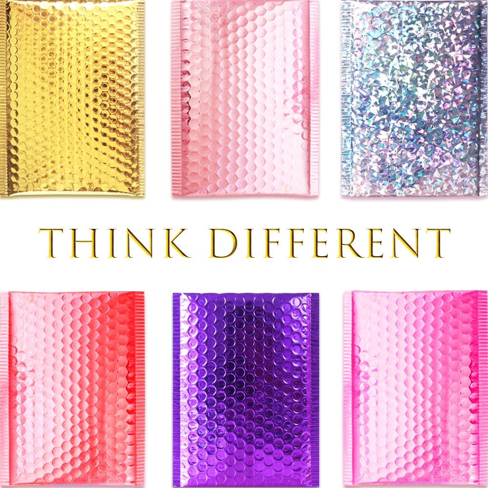 Gold/Rose Gold/Laser Silver/Dark Red/Purple/Rose Red Aluminum Foil Bubble Mailer CD/Eyelash Packaging Shipping Padded Envelopes