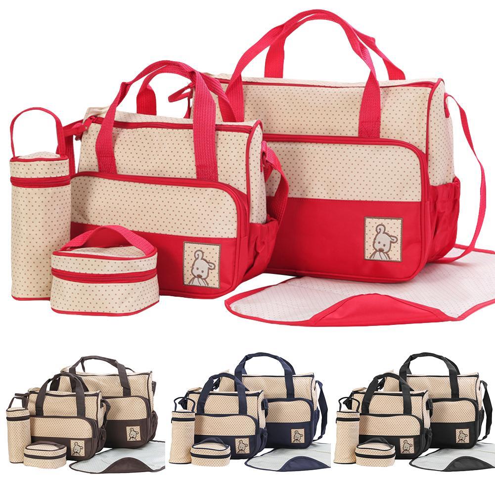 New 5Pcs/Set Waterproof Large Capacity Baby Diaper Bag Maternity Shoulder Handbag