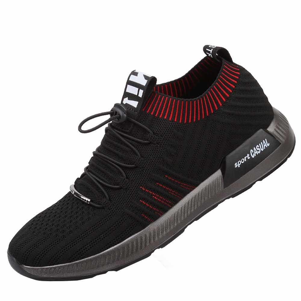 SAGACE spor ayakkabı erkek siyah aşınmaya dayanıklı nefes moda spor ayakkabı kaymaz moda eğlence platformu koşu ayakkabıları X0110