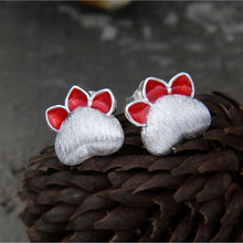 Silver 925 Jewelry Earrings Lovely Temperament Popular Cat Claw Ear Studs Fashionable Party For Women