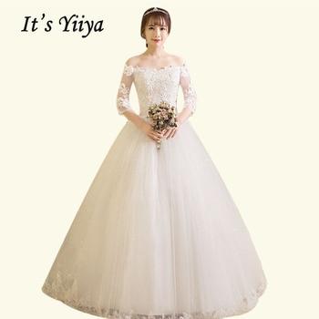 Boat Neck Wedding Dress It's Yiiya BR691 Elegant Three Quarter Sleeve Wedding Dresses Sequined Vestidos De Novia Bridal Gowns