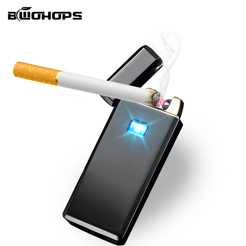 BWOHOPS Double Arc Plasma Lighter Flameless Smok Outdoor Windproof USB Rechargeable Cigarette Classic Electronic Pulsed Ligthers