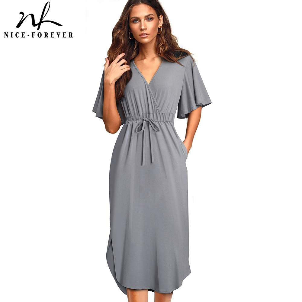 Nice-forever Women Casual Solid Color Drawstring Vestidos With Batwing Sleeve Straight Women Dress A202