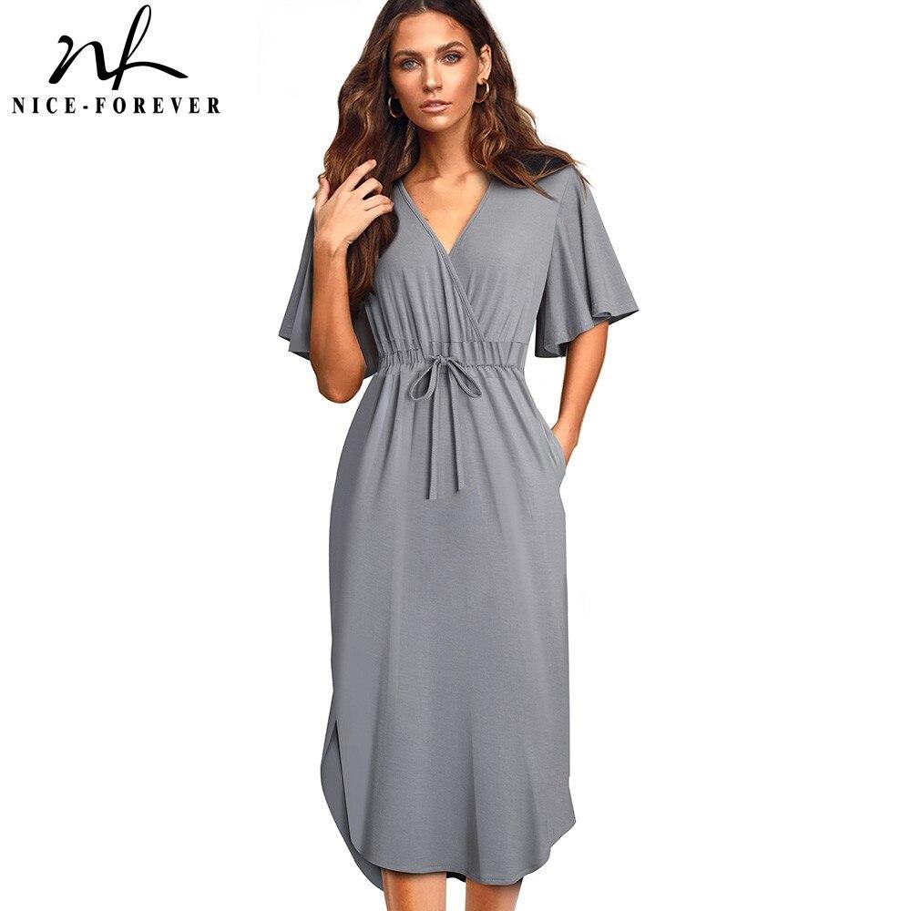 Женское Повседневное платье Nice forever, однотонное платье на завязках с рукавом «летучая мышь», A202|Платья|   | АлиЭкспресс