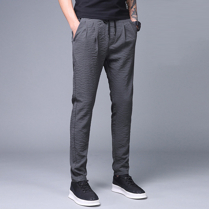 Summer Men's Pants Thin Ice Silk Pants Casual Sports Breathable Pants Business Male Classic Full Length Trousers Large Size 5XL