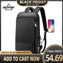 BOPAI Super Dünne Laptop Rucksack USB Lade Port Männer Anti Theft Zurück Pack Wasserdichte College Rucksack Aktualisiert Version