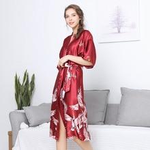 YRRFUOT Summer Red Homewear Ladies Pajamas Half Sleeve Comfortable Simulation Silk Satin Nightdress Wedding Bridesmaid Gift