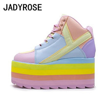 Platform Wedge Espadrilles Tenis Women Sneakers Rainbow-Color Autumn Real-Leather Casual