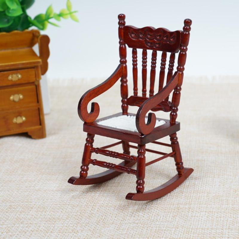Dongzhur Wooden Doll House Miniature Chair Furniture Model Toys 1:12 Dollhouse Accessories Mini Coffee Rocking Chair Model Toys