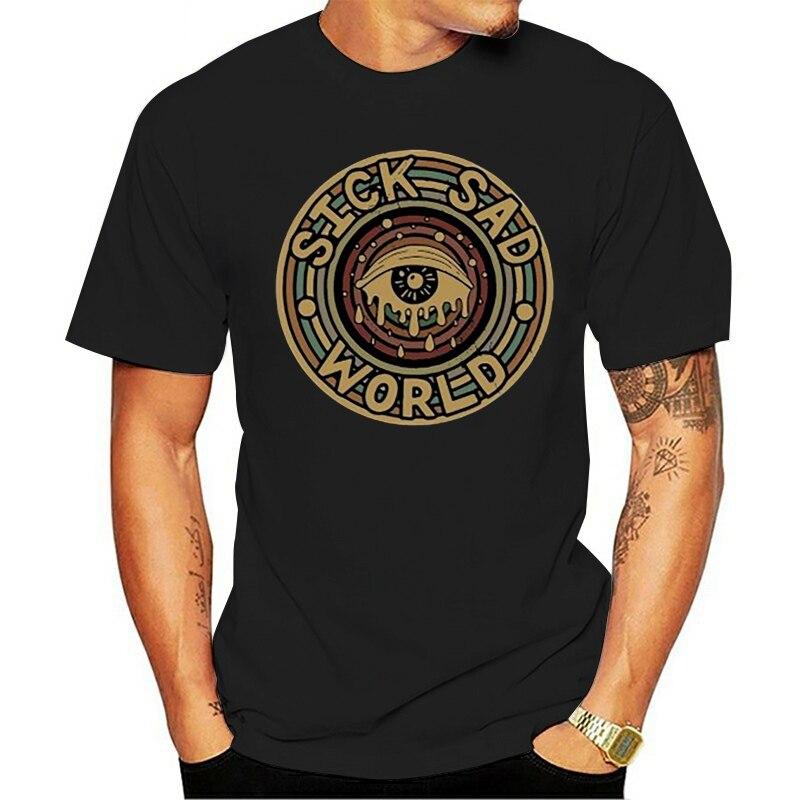 engraçado 2021 t-shirt  doente triste mundo olho chorar preto tamanho