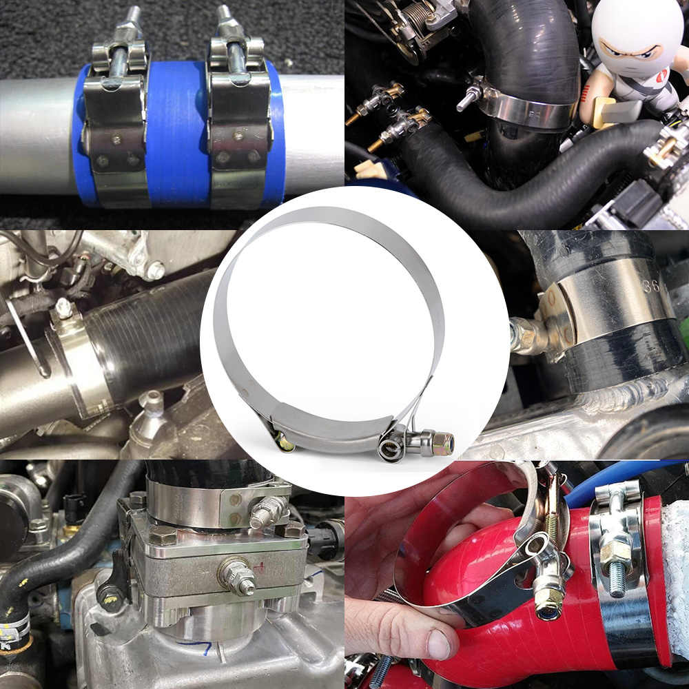 """3/"""" inch Turbo Pipe Silicone Hose Coupler T-Bolt Clamp Stainless Steel 76-100mm"""